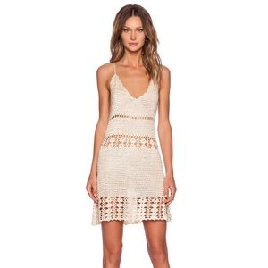 Unif tan Dharma crochet mini dress